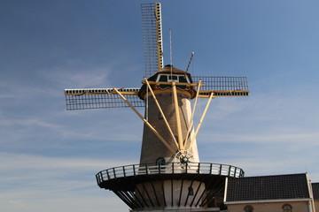 Windmill Windlust in Nieuwerkerk aan den IJssel with blue sky