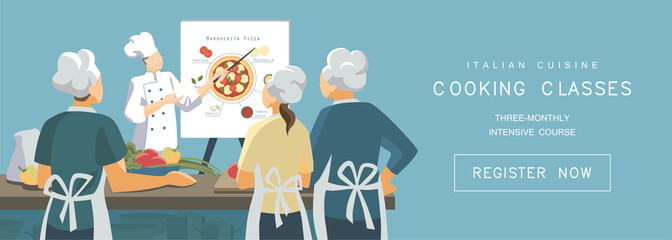 Cooking classes concept in flat style. Italian cuisine training courses. Chef demonstrates the principle of pizza cooking to students. Vector illustration