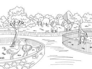 Zoo park graphic black white landscape sketch illustration vector