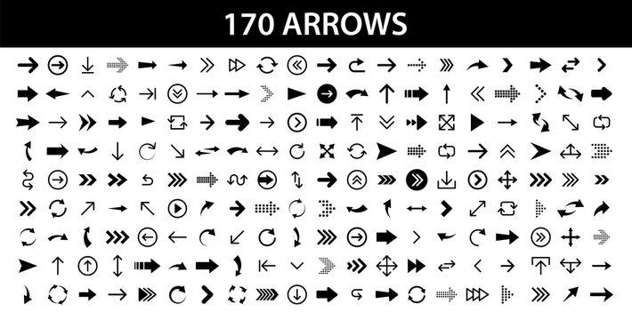 Arrows set of 170 black icons. Arrow icon. Arrow vector collection. Arrow. Cursor. Modern simple arrows. Vector illustration.