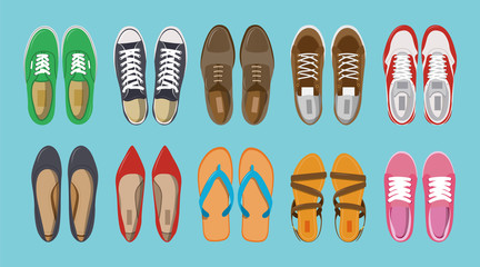 Men's and Women's shoes top view. Shoes icons. Sneakers and Slippers collection. Vector