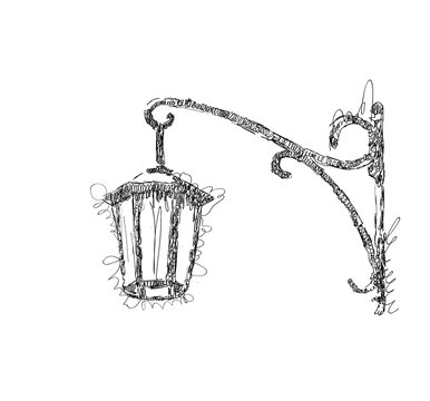 Vector sketch street lamp, lantern on white background, hand drawn illustration