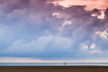 Cloudy tropical sky over sandy beach