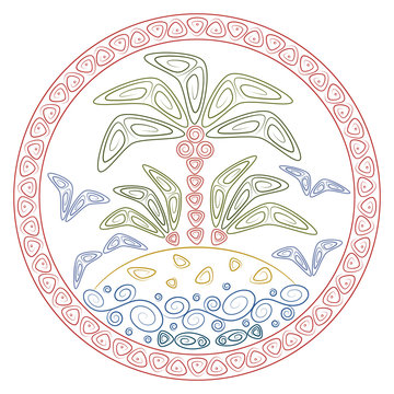 Abstract illustration with palm tree on a tropical island in the ocean. Colored isolated objects in polynesia style on a white background.
