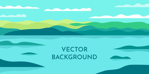 Poster Green coral Vector minimalist wallpaper. Flat design. Landscape with shadows. Marshland with islands. Slopes on the background