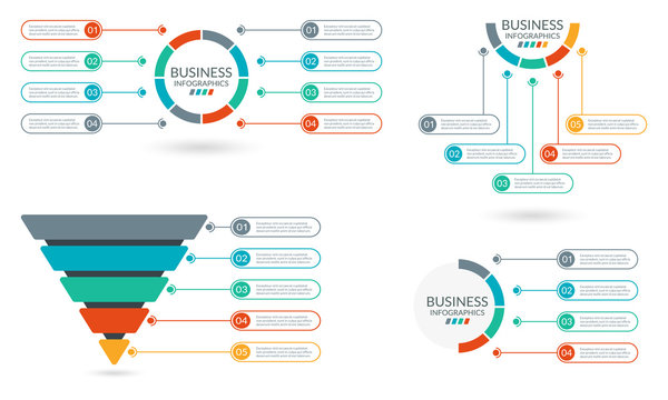 Infographic set. Sale and Marketing Funnel. Sequence info graphic layout. Business pyramid, process presentation concept. Circle diagram, chart, graph with steps, option or parts. Vector illustration.