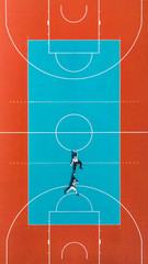 Mens Hanging from Basketball Court Line, Creative and Funny  Illusion Image