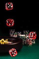 Throwing Red Dices , Casino and Poker Concept, Roulette in Background