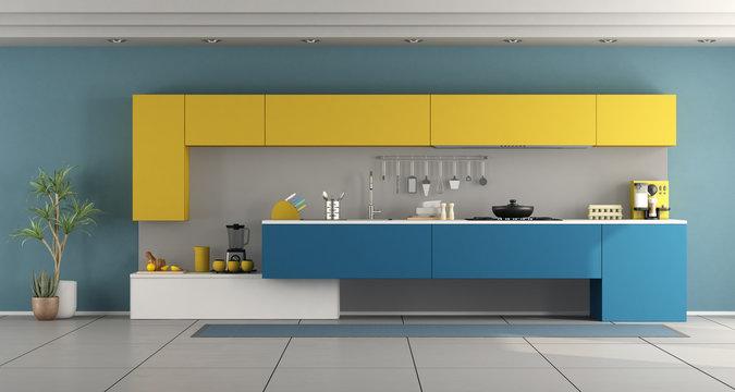 Minimalist blue and yellow kitchen