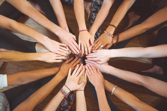 Hands together teamwork