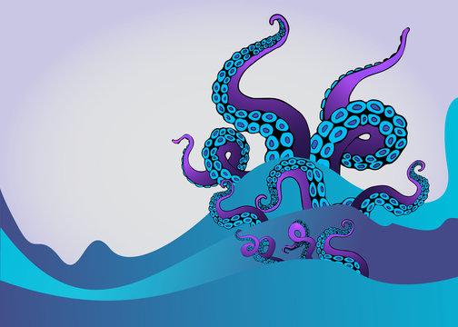 Octopus tentacle in sea waves. Underwater ocean monster Kraken.