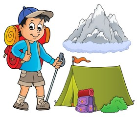 Poster For Kids Image with hiker boy topic 1