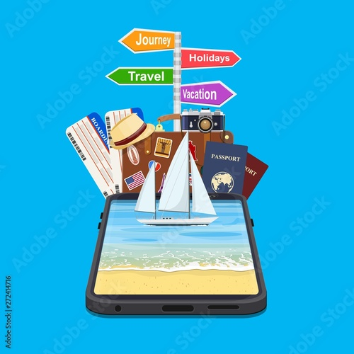 Online Holiday Travel Mobile App Concept  Suitable For Wallpaper