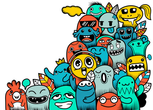 Vector illustration of Doodle cute Monster with copy space background ,Hand drawing Doodle