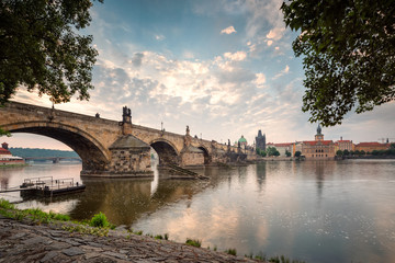 Beautiful morning view with Vltava river and Charles bridge in Prague, Czech Repiblic