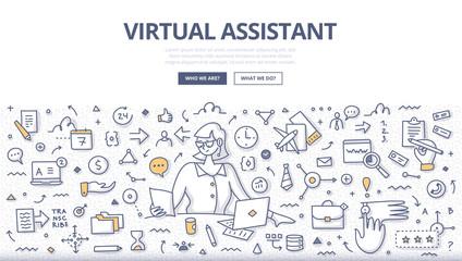 Virtual Assistant Doodle Concept