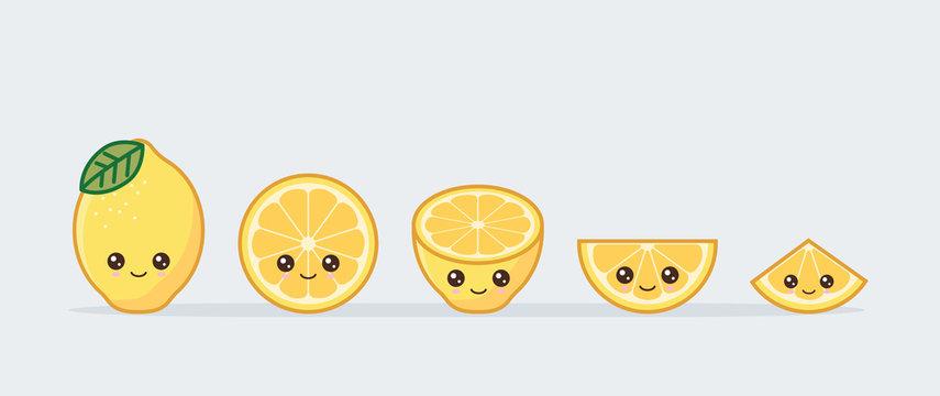 Lemon set drawn cute kawaii food faces