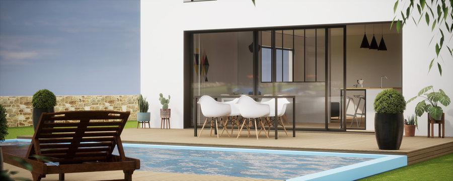 piscine et terasse _ vue 3d