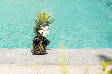 Funny pineapple with sunglasses and flower next to swimming pool.