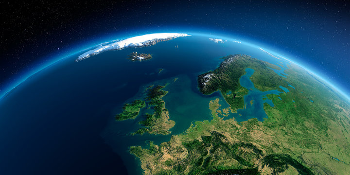 Detailed Earth. United Kingdom and the North Sea
