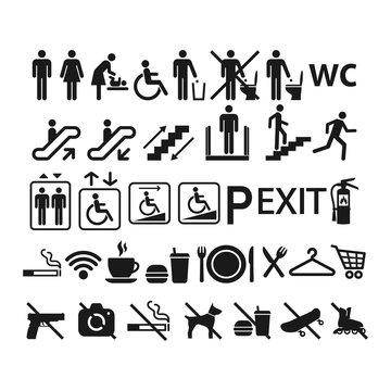 Shopping center or mall information vector sign set. Public building universal symbols. Black glyph icon set for shopping, restaurants, toilet, elevators.