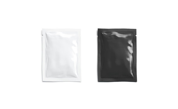 Blank black white sachet packet mockup, isolated, top view,