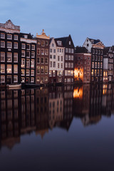 Printed roller blinds Channel Canalhouses and reflections in Amsterdam