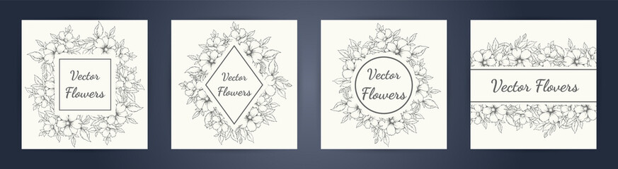 wedding invitation with summer flowers. Black and white vector illustration. floral black line art ink drawing with geometric frame. eps 10.