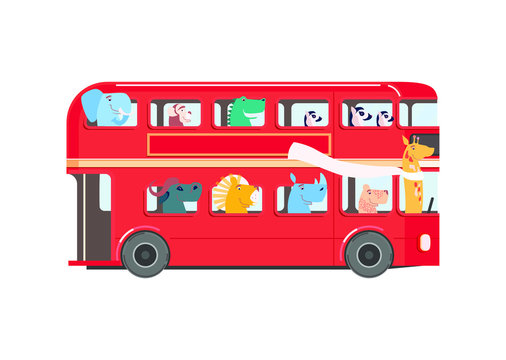 Cute african animals in red bus. Vector cartoon.