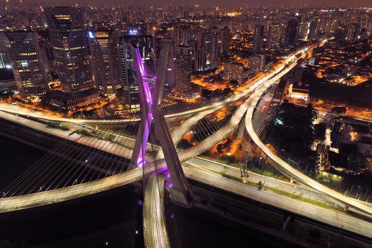 Cable-stayed bridge aerial view. São Paulo, Brazil. Business center. Financial Center. Great landscape.