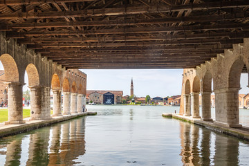 Venice Italy - May 25, 2019:  Panoramic view of Venice from the Arsenale docks.