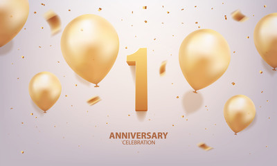 1st Year anniversary celebration background. 3D Golden number with confetti and balloons.