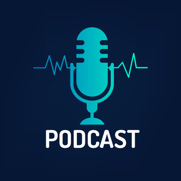 logo or icon podcast with wave on dark background ,vector graphic