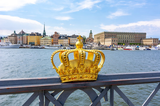 Stockholm old town cityscape with Royal palace and Royal crown, Sweden