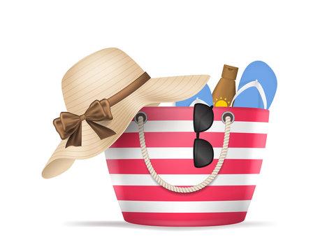 Realistic 3d Detailed Striped Beach Bag. Vector