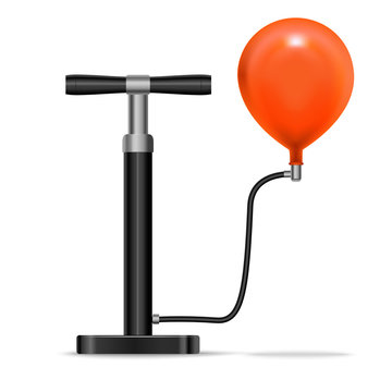 Realistic Detailed 3d Black Pump Inflates Red Balloon. Vector