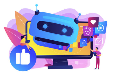 Wall Mural - Internet communication, online chat bot, future SMM, high technology. AI in social media, AI content tracking, automated image recognition concept. Bright vibrant violet vector isolated illustration