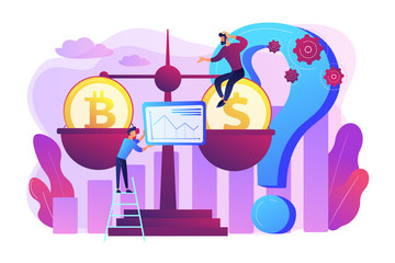 Virtual money exchange, market statistics analysis. Bitcoin price prediction, cryptocurrency price forecast, blockchain invest profitability concept. Bright vibrant violet vector isolated illustration