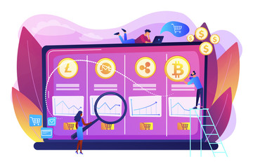 Economic data analysis, market value calculation. Cryptocurrency trading desk, bitcoin futures platform, official crypto exchange services concept. Bright vibrant violet vector isolated illustration