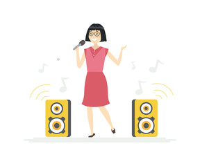 Chinese girl singing - cartoon people characters illustration
