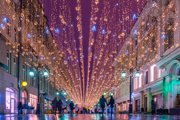 Moscow. Russia. The streets of Moscow in Christmas illumination. Christmas street decorations. New year Moscow. A trip to Moscow during the winter holidays. Russian capital in winter. Fototapete