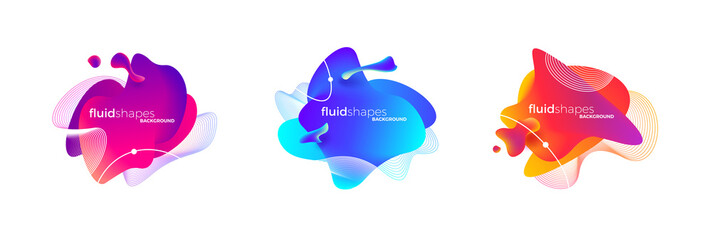 Set of abstract modern fluid banner with gradient color. Different liquid shape and line elements. Abstract vector illustration.