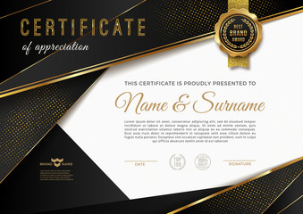 Certificate template with guilloche pattern and luxury golden elements. Diploma template design. Vector illustration.