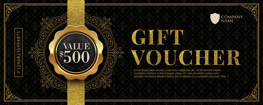Gift voucher template with glitter gold luxury elements. Vector illustration. Design for invitation, certificate, gift coupon, ticket, voucher, diploma etc.
