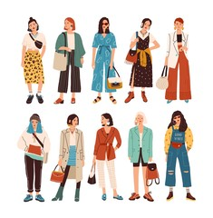 Collection of stylish young women dressed in trendy clothes. Set of fashionable casual and formal outfits. Bundle of cute girl hipsters or trendsetters. Flat cartoon colorful vector illustration.