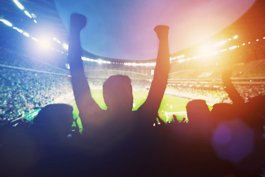 Happy football fans support their team