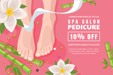 Spa salon banner, poster design template. Pink discount flyer layout for female pedicure, foot care. Vector illustration