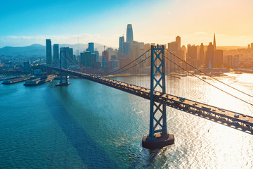 Aerial view of the Bay Bridge in San Francisco, CA