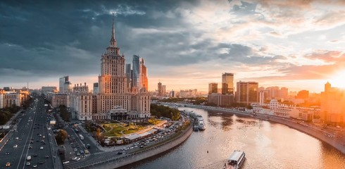 Tuinposter Moskou Russia. Sights of Moscow and its outskirts. view with altitude, 09/06/2019