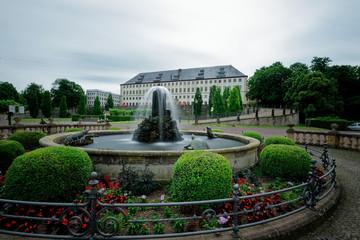 Fountain monument with Castle Friedenstein in Gotha